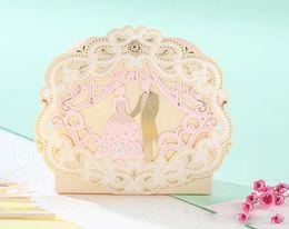 Wholesale European Style Wedding Favour - 100Pcs romantic European style Hollow out gold Wedding Candy Box gift box wedding bonbonniere wedding favour boxes