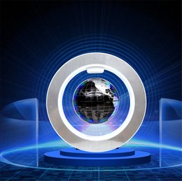 "Wholesale Circular Decoration - Magnetic Floating Globe, 4'' Circular Frame Rotating Levitating Globe ""O"" Shape Anti-Gravity Colorful LED World Map for Home Decoration"