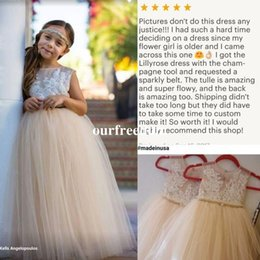 Wholesale rustic lace - 2017 Cute Champagne Flower Girls Dresses With Chic Rustic Wedding White Lace Top Sheer Jewel Neck Floor Length First Communion Dresses Custo