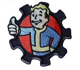 Remendos bordados do natal on-line-3.15 * 3.15 polegadas Patches 3D Vault Boy Bordado patch com fita mágica braçadeira GPS-032 Vault Pip Menino Festa de Natal Applique Fallout