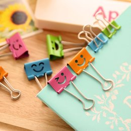 Wholesale Diy Paper Clip - 19mm width Office Binding mental clips coloured note paper binder small large size DIY stationary student Files Documents clips