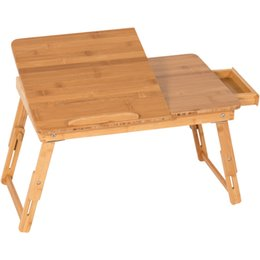 Wholesale Set Drawers - 100% Bamboo Adjustable Laptop Desk Table Tilting Top Drawer Breakfast Bed Tray