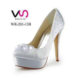 Wholesale Ivory Heel Bow - 2016 New Hot Cinderella Luxury Rhinestones Prom Wedding Shoes Princess High Heel Satin Bow Design Pump Women Bridal Shoes Party Shoes