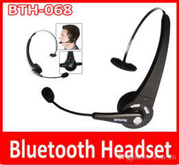 Wholesale Boom Phones - Wireless Bluetooth Headset with Boom Mic BTH-068 For Phone PS3 Trucker Bluetooth V2.1 Headset 2.4G ISM Band PLUS Noise Canceling Handsfree