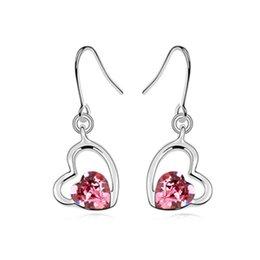 Wholesale Peach Chandelier - Free shipping new arrival peach heart crystal earrings,2016 woman fashion Austria crystal element earring wholesale price