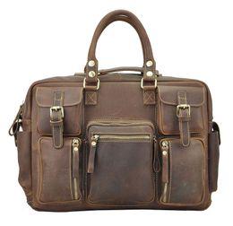 Wholesale Genuine Laptops - Crazy Horse Leather Man Bags Shoulder Bags Vintage Cowhide Men Laptop Big Capacity Shoulder Bag Best Selling Man Bag Messenger Bag
