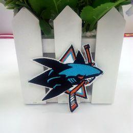 Wholesale Nhl Shirts - NHL San Jose Sharks Logo embroidered Iron on Patch High Quality Shirt Bag Cap