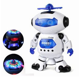 Wholesale Finish Music - Cute Mini Electric Dancing With Light Music Musical Robot Action Figure Toy Model For Children Kids