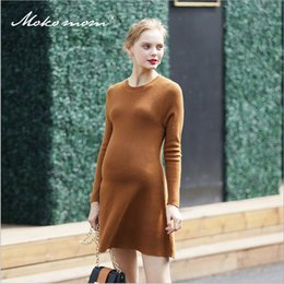 Wholesale Comfortable Maternity Dress - New Style Fashion and Comfortable Knitted Dress Pregnant Woman Autumn Skirt Spring Sweater Long Sleeve A-line Mother Maternity Clothes