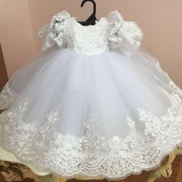 Wholesale Dresses Baptism For Girls - New Ball Gown Christening Dresses For Baby Girl Lace Appliques Baptism Gown With Short Sleeves Cheap Tulle Kid First Communication Dress