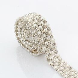 Wholesale Decoration Pearl Trim - Hot ! Fasion wedding invitations decoration 5 yards 4 rows rhinestone faux pearl mesh trim