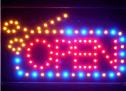 outdoor neon bar sinais Desconto 2019 venda direta 10x19 Inch Semi-ao ar livre do cabelo do barbeiro corte aberto Scissor LED aberto Sinal de néon atacado