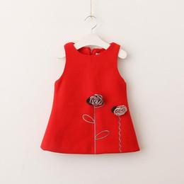 Wholesale Kids Woolen Dresses Girls - Christmas Red Dresses Kids Girls Flower Dress Baby Girls Woolen Sleeveless Dress 2017 Baby Winter Clothes