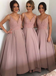 Wholesale Arabic Style Long Dresses - 2017 Dusty Pink V-neck Blingbling Bridesmaid Dresses Arabic Style Cheap A-line Modest Beaded Crystals Backless Classical Prom Party Gowns