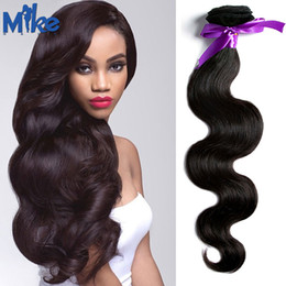 Wholesale Black Women Hair Products - 1 Piece Human Hair Extension Malaysian Body Wave Hair Weave Cheap Human Hair Bundles for Black Women MikeHAIR Products