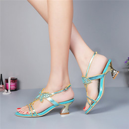 Wholesale Kitten Heel Wedding Shoes Gold - Middle Heel Rhinestone Wedding Shoes Cut-out Summer Sandals Slingback Chunky Heel Genuine Leather Lady Dress Sandals Plus Size