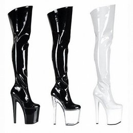 Wholesale High Boots Europe - knee-high boots at the end of 20 cm thick high boots with Europe and the United States female pole dancing boots performance