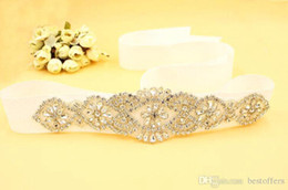 Wholesale Dear Dress - Sparkling Rhinestones Gold Belt for Wedding Dresses 2017 New Collection Wedding Ribbon for Dear Customer Leonila Baclig