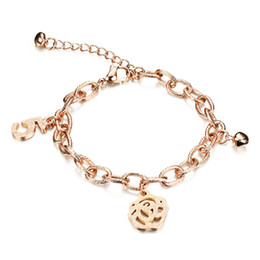 Wholesale Wholesale Gold Plated Initial Bracelets - Adjustable Flower Charm Bracelet with Twist Chain Initial Bracelet Jewelry - Silver, Rose Gold