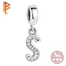 Wholesale Woman S Jewelry - BELAWANG New Authentic 925 Sterling Silver Letter S Beads Fit Pandora Charms Bracelet DIY Jewelry for Women Charm Gift