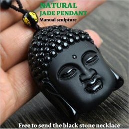 Wholesale Jade Buddha Pendants For Men - Fashion Black Buddha head pendant Natural obsidian Vintage Necklace For women men Free ROPE Fine Jade jewelry
