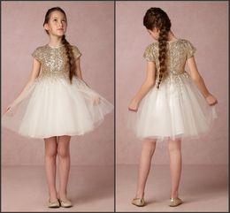 Wholesale Tea Length Sparkle Dress - Sequins Sparkling Lovely Flower Girl Dresses 2016 Jewel Neck Tiers Tulle Princess Kids Communion Dresses Wedding Junior Party Gowns