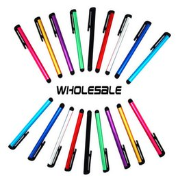 Wholesale Ipad Stylus Clip - Wholesale-1000pcs lot Mini Pens Capacitive screen stylus touch pen with clip for iphone 5 6 6S 6S Plus iPad mini iPad iPod Samsung Galaxy