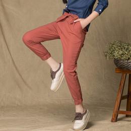 Wholesale Trousers Designs For Girls - Women Slim Original Design Vintage Linen Female Dazzling Female Drawstring Pants Capris Casual Trousers For Students Girls