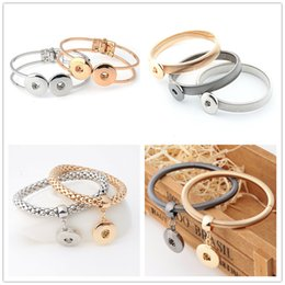 Wholesale Fasion Rings - Gold Silver Button Bracelet Fasion Jewelry NOOSA Trend Jewelry Interchangeable 18mm Ginger Snaps Button Charm Cuff Bangle for women