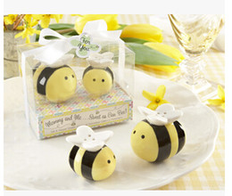 Wholesale Ceramic Baby Favors Wholesale - 60Set Lot=120pcs lot Mommy and Me Sweet as Can Bee Ceramic Honeybee Salt & Pepper Shakers baby shower favors and gifts