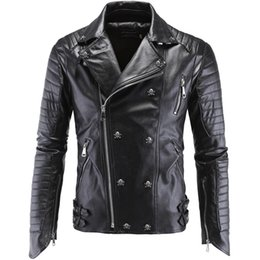 Wholesale Cool Leather Mens Coats - 2016 Fashion Punk rivet Cool Harajuku Motorcycle Mens Faux Leather biker Jackets Coats Black Slim Fit Harley Leather Jacket Men