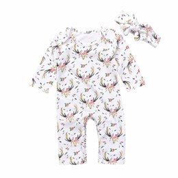 Wholesale Cute Jumpsuits - Mikrdoo Autumn Winter Baby Clothes Cute Newborn Kids Girl Casual Long Sleeve Christmas Deer Floral Romper Jumpsuit Headband 2Pcs Wholesale