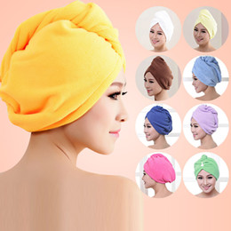 Wholesale Microfiber Absorbent Hair Towels - free shipping Microfiber Bath Towel Hair Dry Hat Cap Quick Drying Lady Bath Tool New Suzie Super absorbent towel