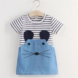 Wholesale Mouse Outfits - White Stripe Mouse Girls Clothes Dress Children Jean Denim Dresses Girl Jumpers Blouse Kids Clothing Outfit Summer Outerwear