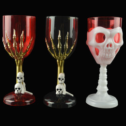 Wholesale Glass Souvenirs - Halloween Cup 3D Skull Head Spider Ghost Claw Cup FlashHorror Ghost Glass Champagne Wine Beer Glasses Free DHL WX-C43