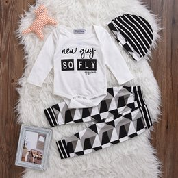 """Wholesale Leopard Animal Hat - """"New Gay So Fly"""" Baby INS White Cotton rompers & Chevron Zigzag print leggings pants & infant striped hats caps free ship"""