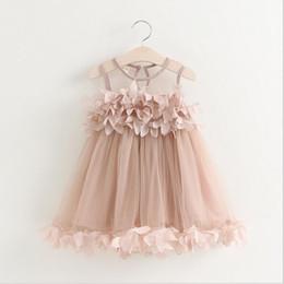 Wholesale Mesh Lace Wholesale Baby - 2016 Kids Girls Lace 3D Flower Dresses Baby Girl Princess tutu Dress Girl Summer Mesh Party Dress Babies Wholesale Clothing