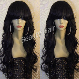 Wholesale Indian Hair Bangs - quality stock body wave glueless full lace wigs and lace front human hair wig with bangs