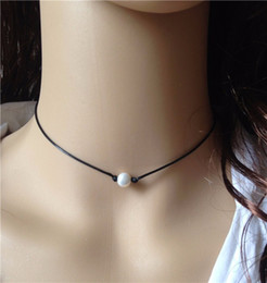 Wholesale Black Pearl Choker - White Pearl Necklace Choker with 8mm Cultured Freshwater Pearl on Black Leather Single Floating Bridal Pearl Fine Jewelry Fashion Accessory