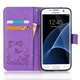 Wholesale point drill - Butterflies Embossed Point drill Leather Kickstand For Samsung S5 S6 S6edge S7 S7edge S8 S8 plus Note8 Phone Cover Card Pocket Pouch Case