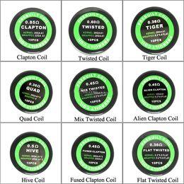 2019 alambre calibre 26 calibre Alta calidad E Cigares Premade Wrap Resistance Coil Alien Fused Clapton Flat Mix Twisted Hive Quad Tigre Cable de calefacción para RDA RBA Vaporizador