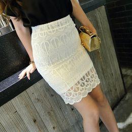 Wholesale Ladies Thin Skirts - Wholesale-2016 Elegant Ladies Sexy Knee - length Thin Crochet Lace Skirt White Black Pink