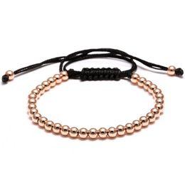Wholesale 24k Gold Bracelets Men - Brading Macrame Men girl Bracelets 24K Gold Plated 4MM Round Beads Wrap Bead Bracelets Women mens rope bracelet