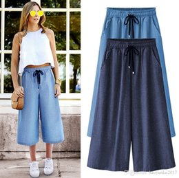 Wholesale Woman Blue Jeans Wide Legs - Summer Plus Size 5xl 6xl Wide Leg Pants Jeans Female Loose Denim Trousers Big Size Casual Palazzo Pants Woman