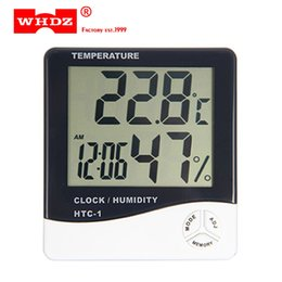 Wholesale Industrial Hygrometer - DHL 20PCS WHDZ HTC-1 Electronic Temperature Humidity Meter Indoor Room LCD Digital Thermometer Hygrometer Weather Station Alarm Clock