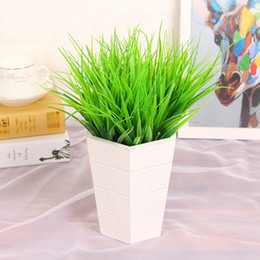 Wholesale rustic artificial flowers - New Green Grass Artificial Plants for Plastic Flowers Household Store Dest Rustic Decoration Clover Plant
