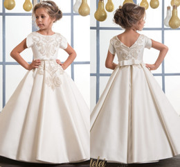 Wholesale Girls Floral Shirts - Arabic 2017 Lace Floral Flower Girl Dresses Ball Gown Satin Child Dresses Beautiful Flower Girl Wedding Dresses F060