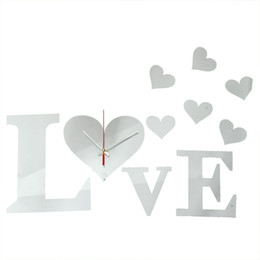 Wholesale Love Heart 3d Stickers - Hot Sale!!!DIY 3D LOVE Sweet Hearts Wall Clock Mirror Acrylic Home Office Decor Sticker Excellent Quality