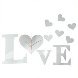 Vente chaude !!! DIY 3D LOVE Sweet Hearts Horloge Murale Miroir Acrylique Home Office Décor Autocollant Excellente Qualité ? partir de fabricateur