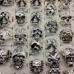 Wholesale Carved Top - Wholesale Lots Top 50pcs Vintage Skull Carved Biker Men's Silver Plated Rings jewelry All Big Size